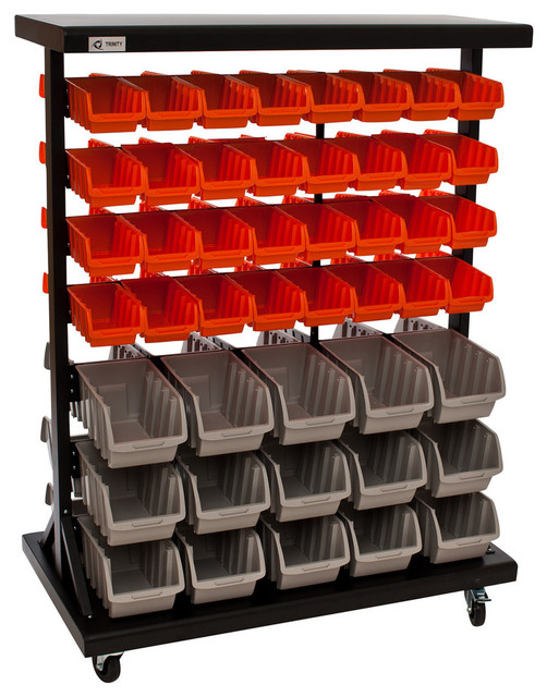 2-Sided Mobile Rack With Bins - Industrial - Garage And Tool Storage - by TRINITY