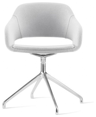 Martini Chair With High Four Swivel Base And Faux Leather, British White  Armchairs And