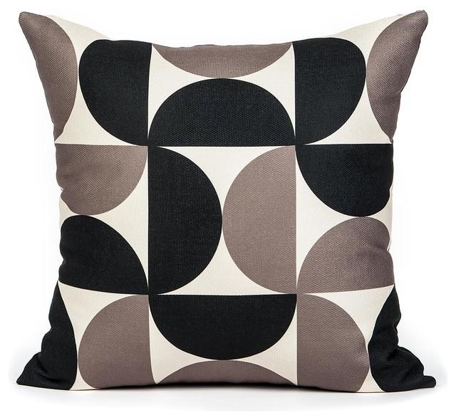 a pex cream and black half circle pillow cover contemporary decorative - Black Decorative Pillows
