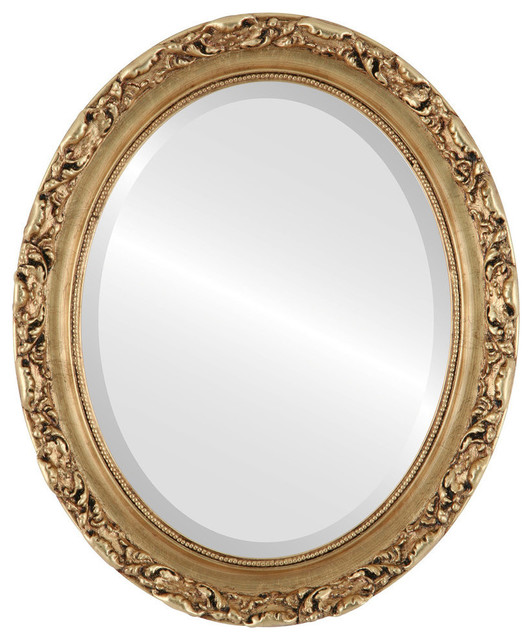 Rome Framed Oval Mirror In Gold Leaf Traditional Wall Mirrors By The Oval Round Mirror Store