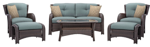 Strathmere 6-Piece Lounge Set, Ocean Blue.