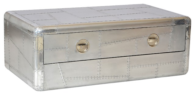 Aviator Aluminum Coffee Table With 2 Drawer Industrial Coffee Tables