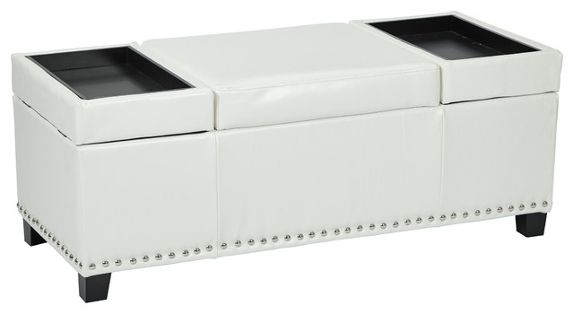 Geneva Storage Ottoman With Built In Tray White Eco Leather