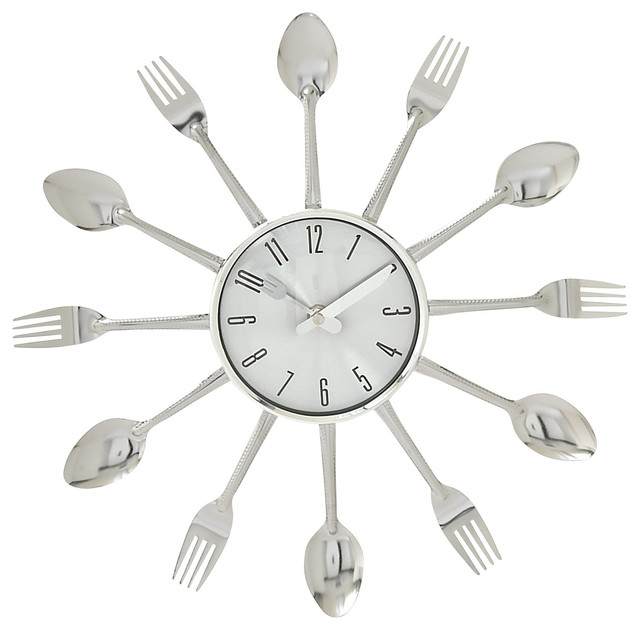 Kitchen Whimsy Metal Kitchen Wall Clock Multi Color Eclectic