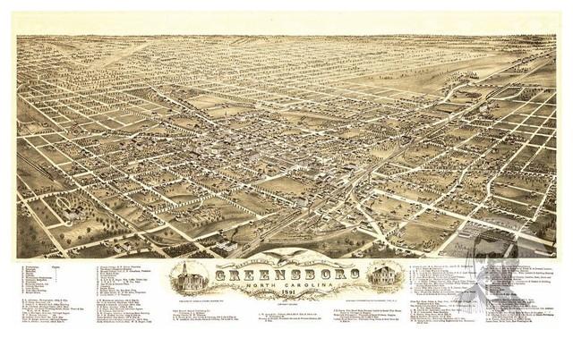 "Historic Greensboro, NC Map 1891, Vintage North Carolina Art Print, 8""x10"" traditional-prints-and-posters"