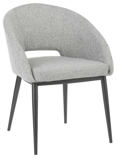 Lumisource Renee Contemporary Chair, Black Metal Legs/Gray Fabric