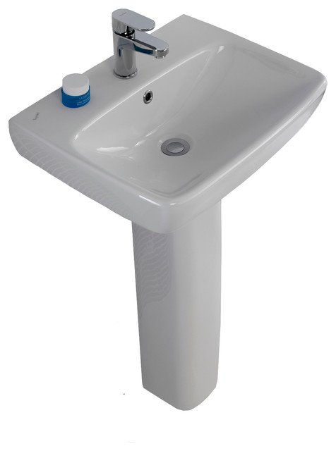 Energy 22 Ceramic Pedestal Sink With Overflow And One Faucet Hole