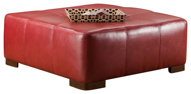 Cocktail Ottoman With Como Bold Red Cover Contemporary Coffee Tables By Shopladder