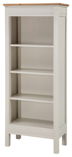 Savannah Tall Bookcase, Ivory With Natural Wood Top.