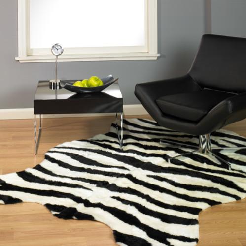 Faux Zebra Skin Rug Bold Stripe