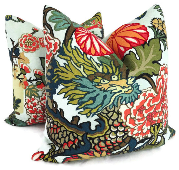 Schumacher Chiang Mai Dragon Pillow Covers 40Piece Set Asian Awesome Asian Pillow Covers