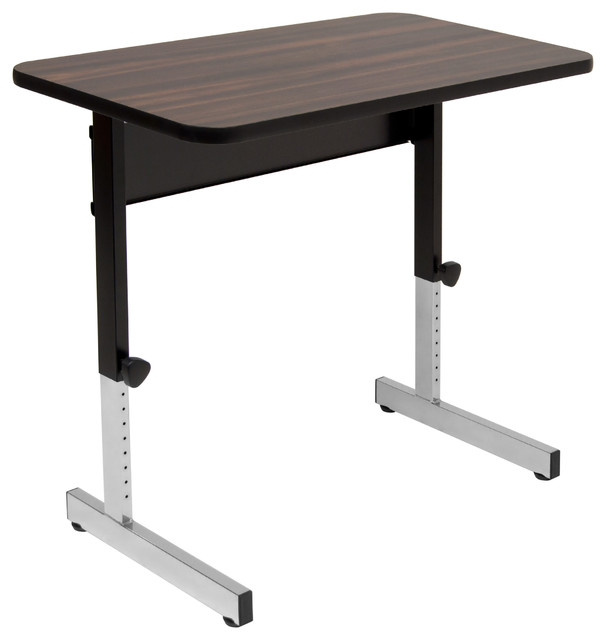 "Adapta Table 36"", Black And Walnut."