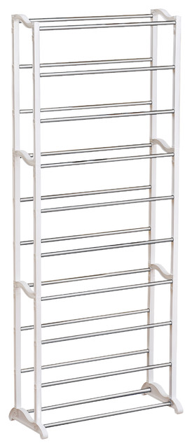 Lynk 30 Pair Shoe Rack, 10 Tier, Shoe Shelf Organizer, White.