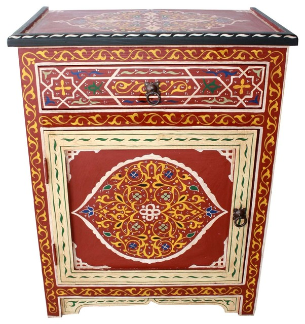 Hand Painted Wooden Storage Cabinet Imported from Morocco, Red