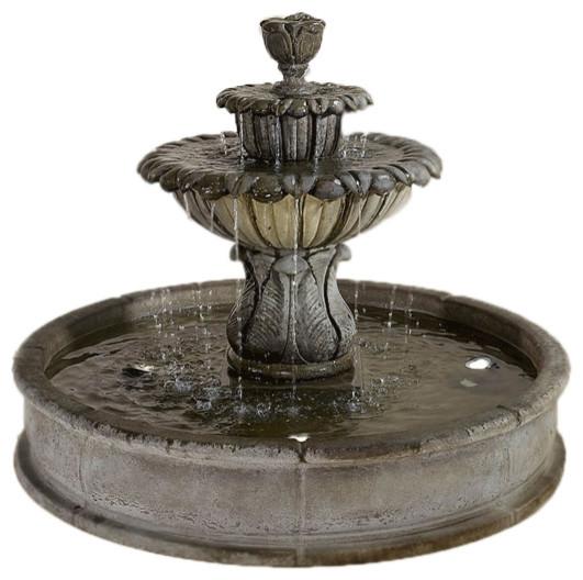Minutus Florian Pond Outdoor Cast Stone Garden Fountain, Rustico(RS), Easy  Pond