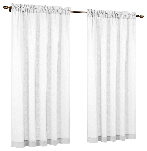 "Urbanest 54"" By 63"" Fauxlinen Sheer Set Of 2 Curtain Panels, Off White."