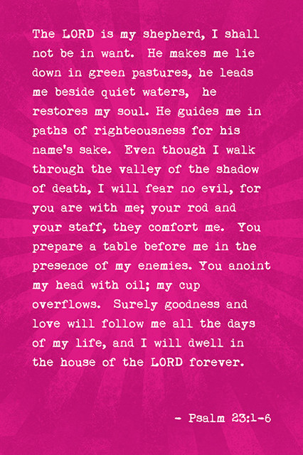 The Lord Is My Shepherd Psalm 23 1 6 Bible Verse Poster
