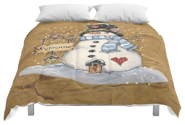 Christmas Comforter.Society6 Folk Art Snowman Christmas Comforter King 104x88