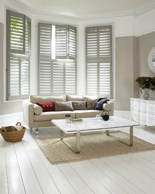 Living room plantation shutters for Contemporary window treatments for living room