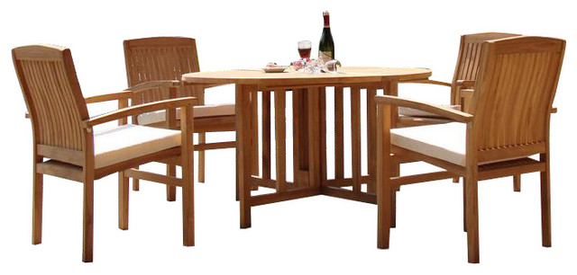 """5-Piece Teak Dining Set, 48"""" Round Butterfly Table, 4 Wave Stacking Arm Chairs"""
