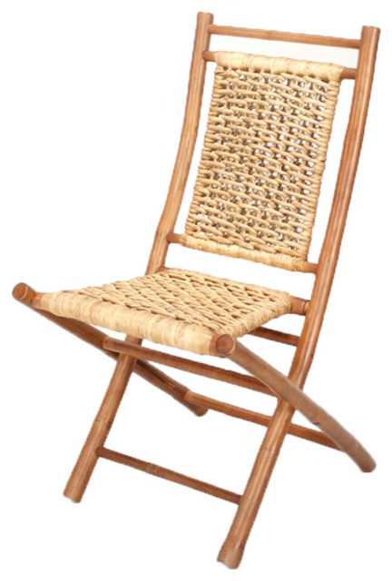 Makaha Bamboo Folding Chair With Open Link Water Hyacinth Weave, Set of 2