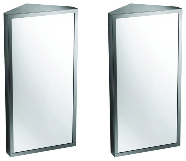 Brushed Stainless Steel Medicine Cabinet Corner Wall Mount Set Of 2.