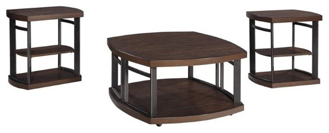 3 Pc Occasional Table Set In Rustic Brown Coffee Table