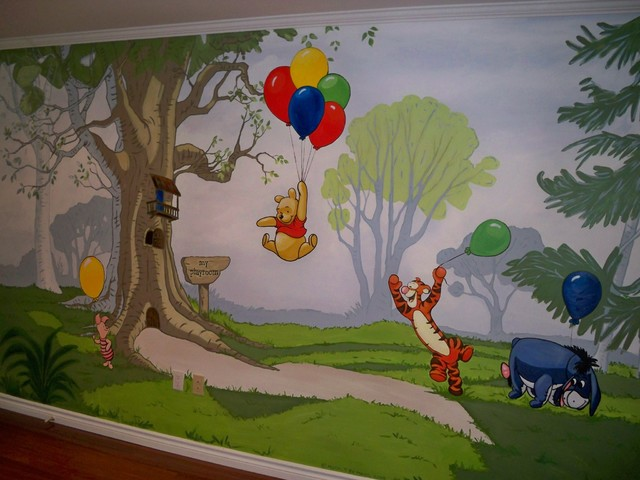 Winnie The Pooh Mural Playroom Traditional Toronto By