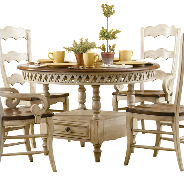 Furniture Summerglen Round Dining Table With Leaf In Antique White