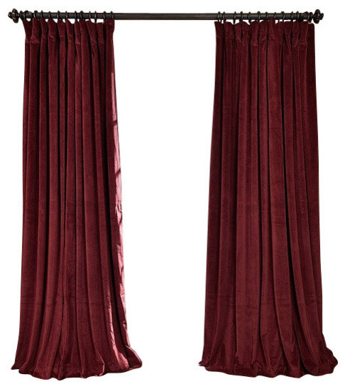 "Signature Burgundy Blackout Velvet Curtain Single Panel, 100""x96""."