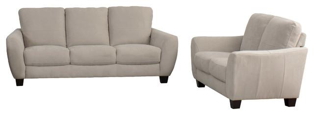 Corliving Jazz 2-Piece Chenille Fabric Sofa Set, Beige.