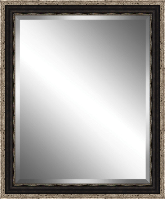 """Brown With Antique Silver Bead Framed Beveled Plate Glass Mirror, 26""""x30""""."""