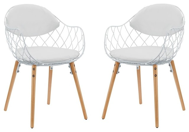 Modway Furniture Basket Dining Chairs Set Of 2 White Midcentury