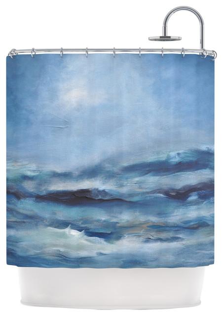 Iris Lehnhardt Rough Sea Ocean Blue Shower Curtain