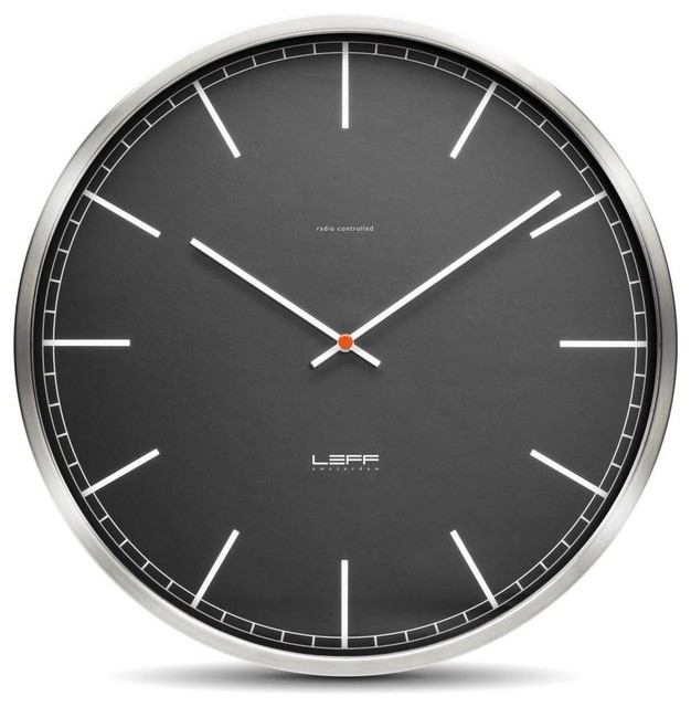 One45 Wall Clock - Stainless Steel, Black Index