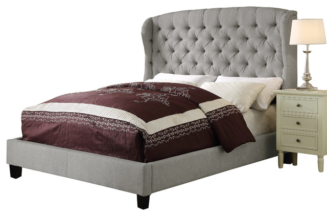 gray tufted wings queen upholstery platform bed beds upholstered size masterton storage