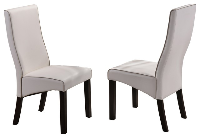 Grenada Parsons Dining Chairs, White Faux Leather & Cappuccino Wood Legs