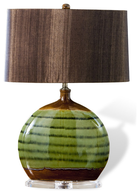 ozark olive green ceramic acrylic wood shade modern lamp tablelamps