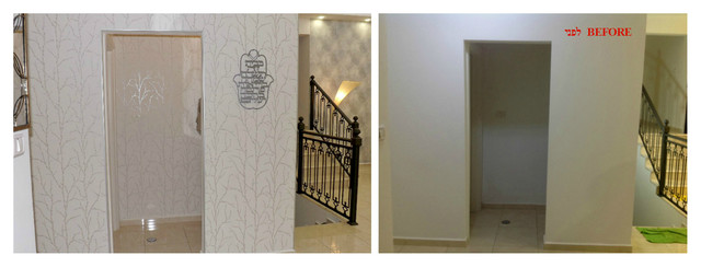 white and silver wallpaper on entry wall