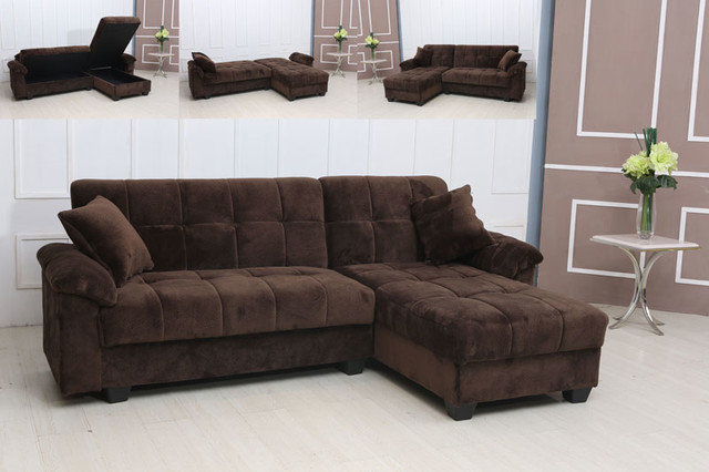 Modern tufted brown microfiber sectional sofa storage for Brown chaise sofa bed