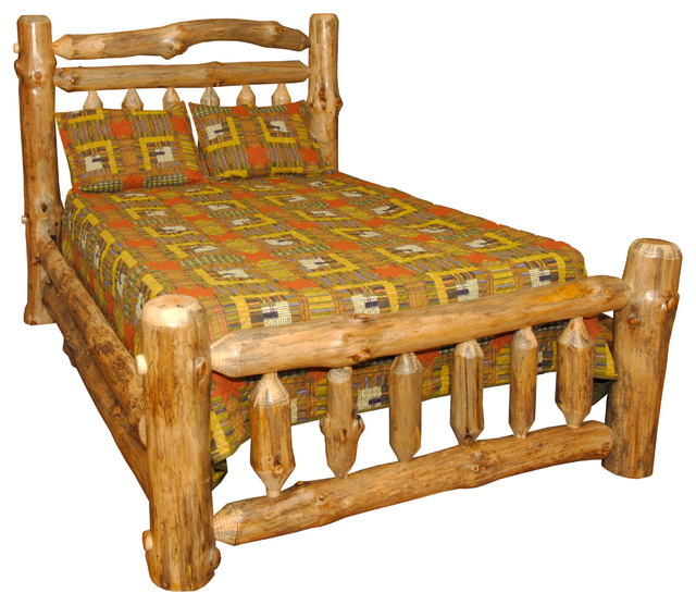 Rustic Pine Log Double Rail Queen Size Bed, Clear Varnish