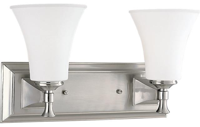 Progress Lighting Inspiration 2 Light Brushed Nickel: Progress Fairfield 2-Light Bathroom Lighting Fixture