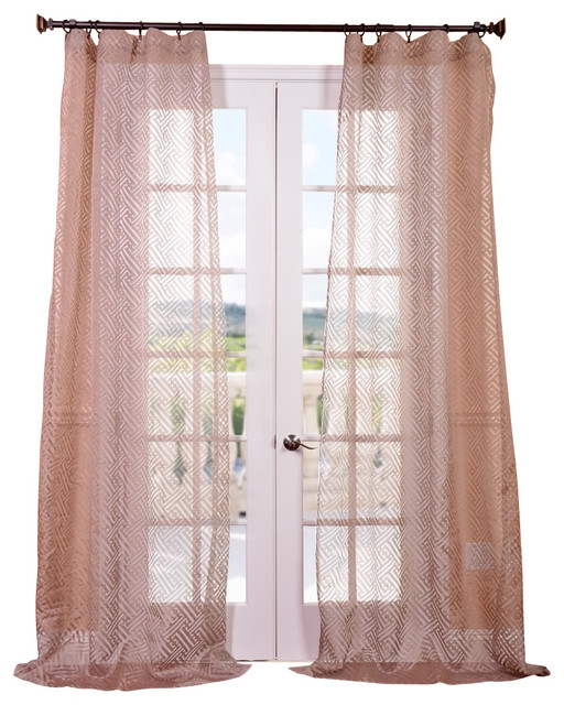 Zara Patterned Sheer Single Panel Curtain Taupe Contemporary Curtains