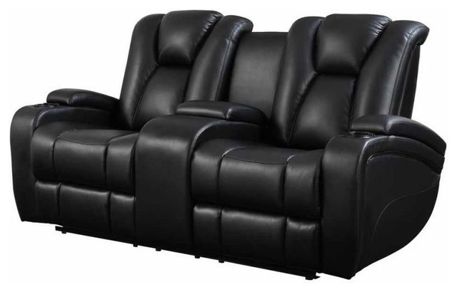 Pleasing Leatherette Upholstered Contemporary Power Reclining Loveseat With Gadgets Black Gamerscity Chair Design For Home Gamerscityorg