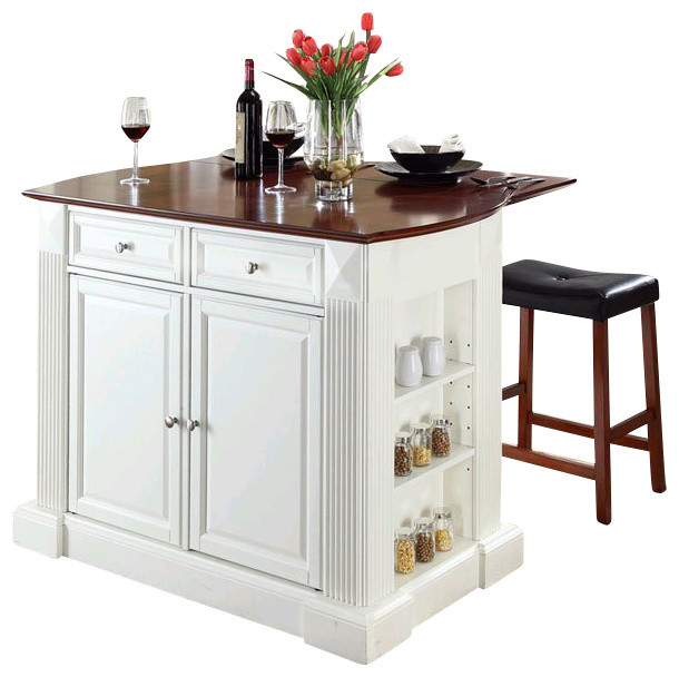 Crosley Coventry Drop Leaf Breakfast Bar Kitchen Island With Stools In White Kitchen Islands