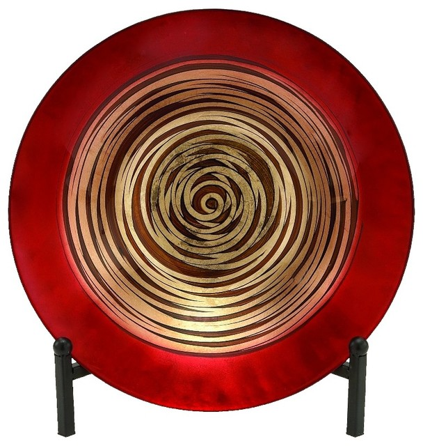 Beautiful Red Gl Plate Bowl Black Metal Gold Art Accent Decor