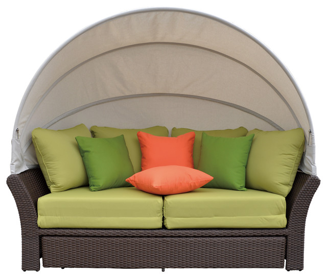 Coutyard Casual Green Eclipse Outdoor Expandable Oval Daybed with Canopy