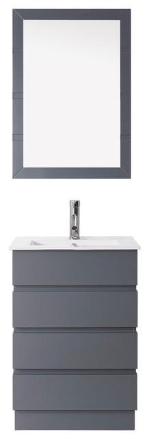 Bruno 24 Single Bathroom Vanity Set, Gray, Brushed Nickel Faucet.