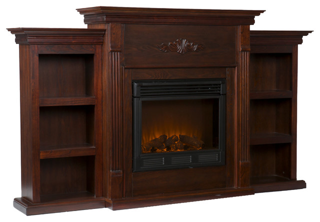 Fredericksburg Electric Fireplace with Bookcases, Espresso  traditional-indoor-fireplaces