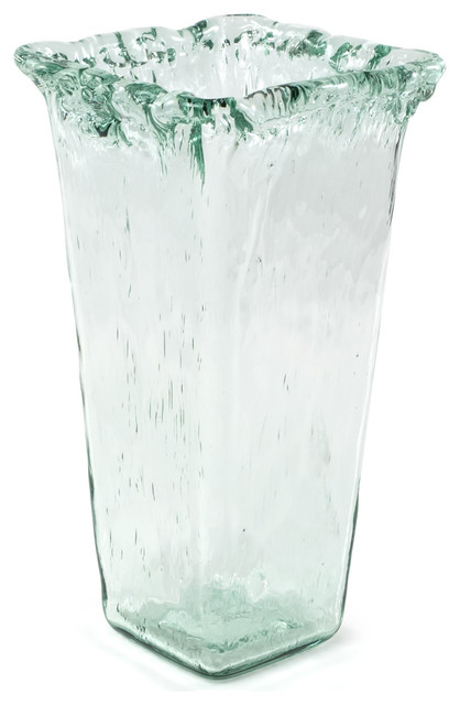 100 Recycled Glass Textured Large Square Vase 7 25 Quot X7 25
